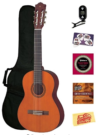 yamaha-cgs102a-half-size-classical-guitar-bundle-gig-bag-tuner-instructional-  dvd-strings-pick-card-polishing-cloth
